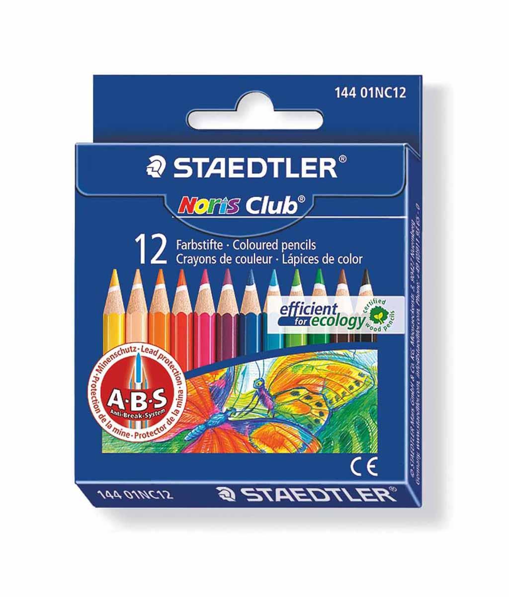 Staedtler Набор цветных карандашей Noris Club 144 12 цветов14401NC1210Цветные карандаши Staedtler Noris Club обладают классической шестиугольной формой. Разработанные специально для детей они имеют мягкий грифель и насыщенные цвета, а белое защитное покрытие грифеля (А·B·S) делает его более устойчивым к повреждению. С цветными карандашами Noris Club ваши дети будут создавать яркие и запоминающиеся рисунки. Длина карандашей - 88 мм.