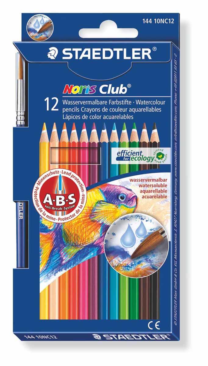 Staedtler Набор акварельных карандашей Noris Club с кисточкой 12 цветов14410NC12Акварельные карандаши Staedtler Noris Club предназначены для школы и творческих мастерских. Хорошо размываются водой. Цвета легко смешиваются между собой, можно получить практически любой оттенок, при желании добившись нежного эффекта акварели. Интересный эффект достигается, когда рисунок наносится на предварительно смоченный картон или бумагу. Карандаши шестигранной формы, корпус выполнен из натурального дерева. Грифель, даже при падении карандаша, не ломается, так как надежно защищен системой ABS (anti breakage system) - дополнительным белым слоем. В комплекте идет кисточка с защитным колпачком. Акварельные карандаши соответствуют всем европейским стандартам.