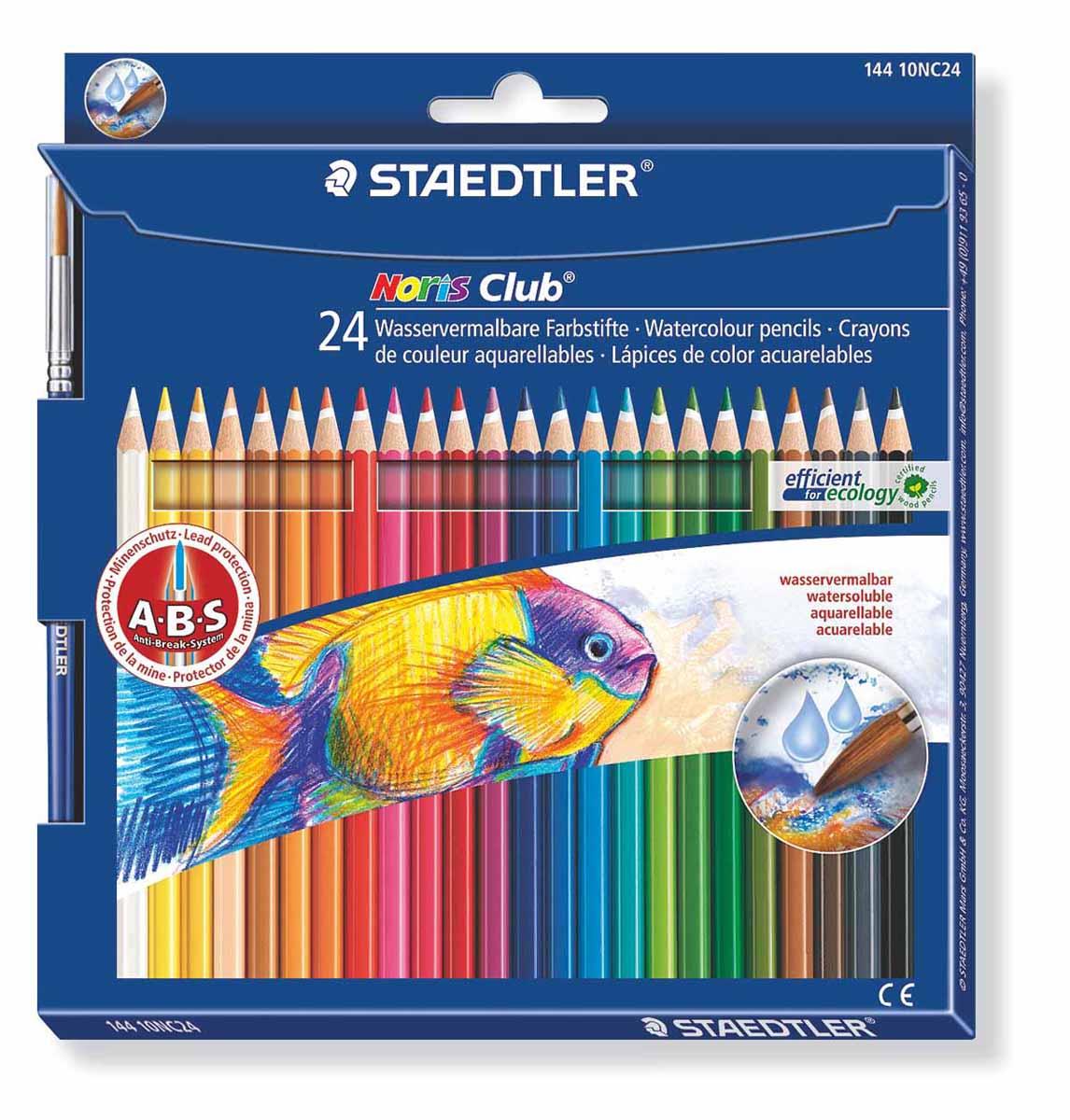 Staedtler Набор акварельных карандашей Noris Club с кисточкой 24 цвета14410NC24Набор цветных карандашей шестигранной формы с акварельным грифелем Noris Club 24 шт + кисть, Staedtler. Содержит 24 цвета в ассортименте. Широкий выбор возможностей для рисования - также водой и кистью.