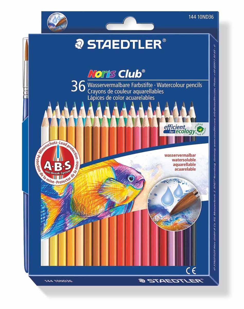 Staedtler Набор акварельных карандашей Noris Club с кисточкой 36 цветов14410ND36Акварельные карандаши Staedtler Noris Club предназначены для школы и творческих мастерских. Хорошо размываются водой. Цвета легко смешиваются между собой, можно получить практически любой оттенок, при желании добившись нежного эффекта акварели. Интересный эффект достигается, когда рисунок наносится на предварительно смоченный картон или бумагу. Карандаши шестигранной формы, корпус выполнен из натурального дерева. Грифель, даже при падении карандаша, не ломается, так как надежно защищен системой ABS (anti breakage system) - дополнительным белым слоем. В комплекте идет кисточка с защитным колпачком. Акварельные карандаши соответствуют всем европейским стандартам.