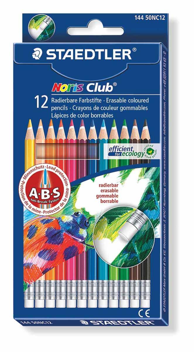 Staedtler Набор цветных карандашей Noris Club с ластиком 12 цветов14450NC1211Набор цветных карандашей с ластиком шестигранной формы для удобного и легкого письма, Staedtler. Содержит 12 цветов в ассортименте. Широкий выбор возможностей для рисования.
