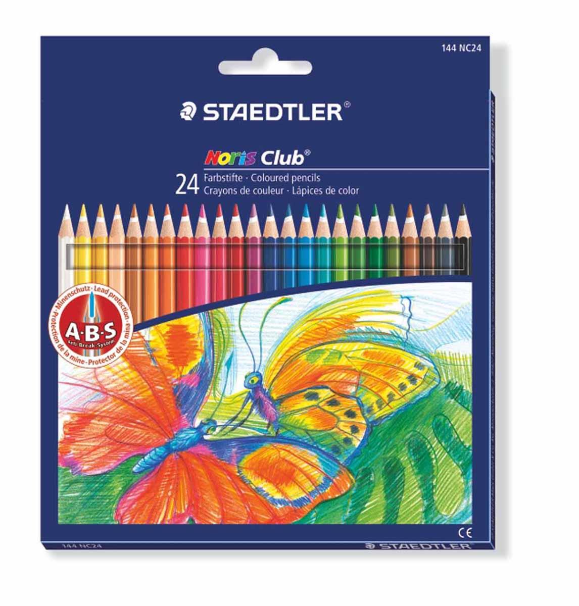 Staedtler Набор цветных карандашей Noris Club 24 цвета144NC2410Цветные карандаши Staedtler Noris Club обладают классической шестиугольной формой. Разработанные специально для детей они имеют мягкий грифель и насыщенные цвета, а белое защитное покрытие грифеля (А·B·S) делает его более устойчивым к повреждению. С цветными карандашами Noris Club ваши дети будут создавать яркие и запоминающиеся рисунки. В наборе 24 карандаша.