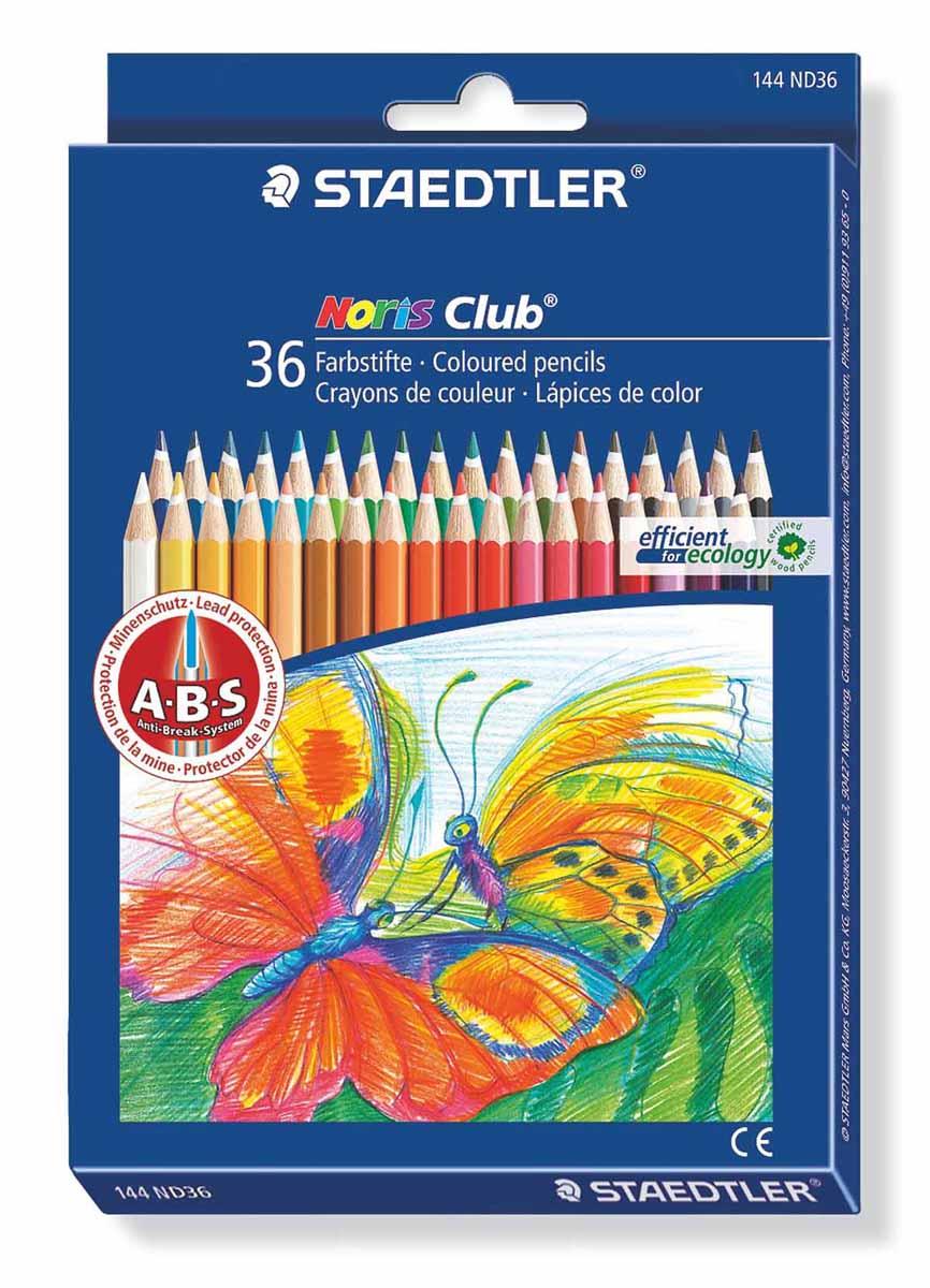 Staedtler Набор цветных карандашей Noris Club 36 цветов144ND36Набор цветных карандашей шестигранной формы для удобного и легкого письма, Staedtler. Содержит 36 цветов в ассортименте. Широкий выбор возможностей для рисования.