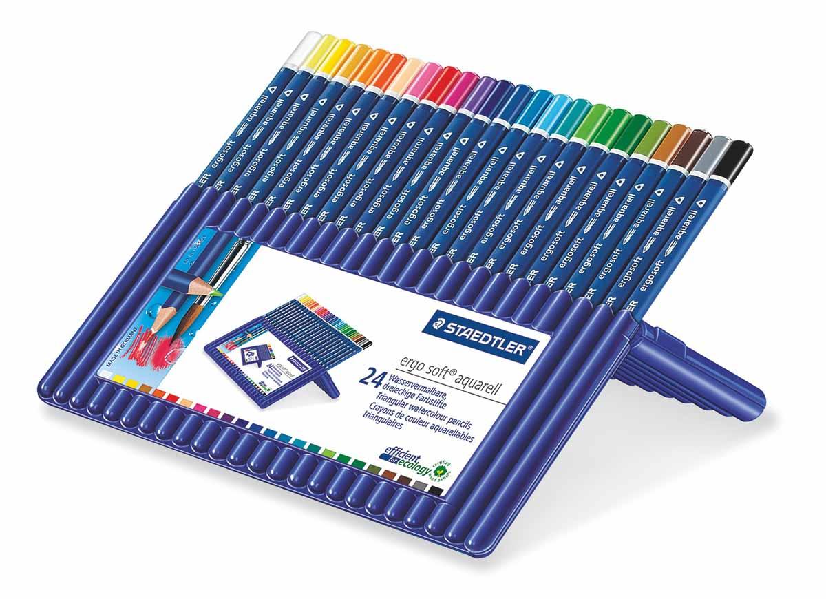Staedtler Набор акварельных карандашей Ergosoft 24 цвета156SB24Набор цветных карандашей трехгранной формы для удобного и легкого письма с акварельным грифелем, Staedtler. Содержит 24 цвета в ассортименте. Карандаши упакованы в пластиковый футляр, который легко превращается в удобную настольную подставку. Широкий выбор возможностей для рисования - также водой и кистью.