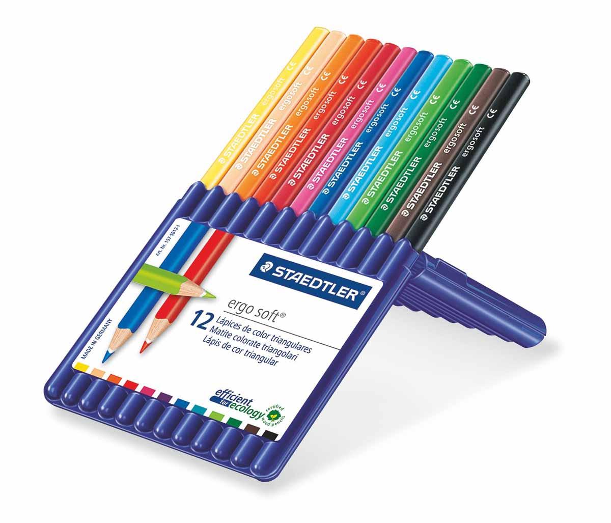 Staedtler Набор цветных карандашей Ergosoft 12 цветов157SB1210Набор цветных карандашей трехгранной формы для удобного и легкого письма, Staedtler. Содержит 12 цветов в ассортименте. Карандаши упакованы в пластиковый футляр, который легко превращается в удобную настольную подставку. Широкий выбор возможностей для рисования.