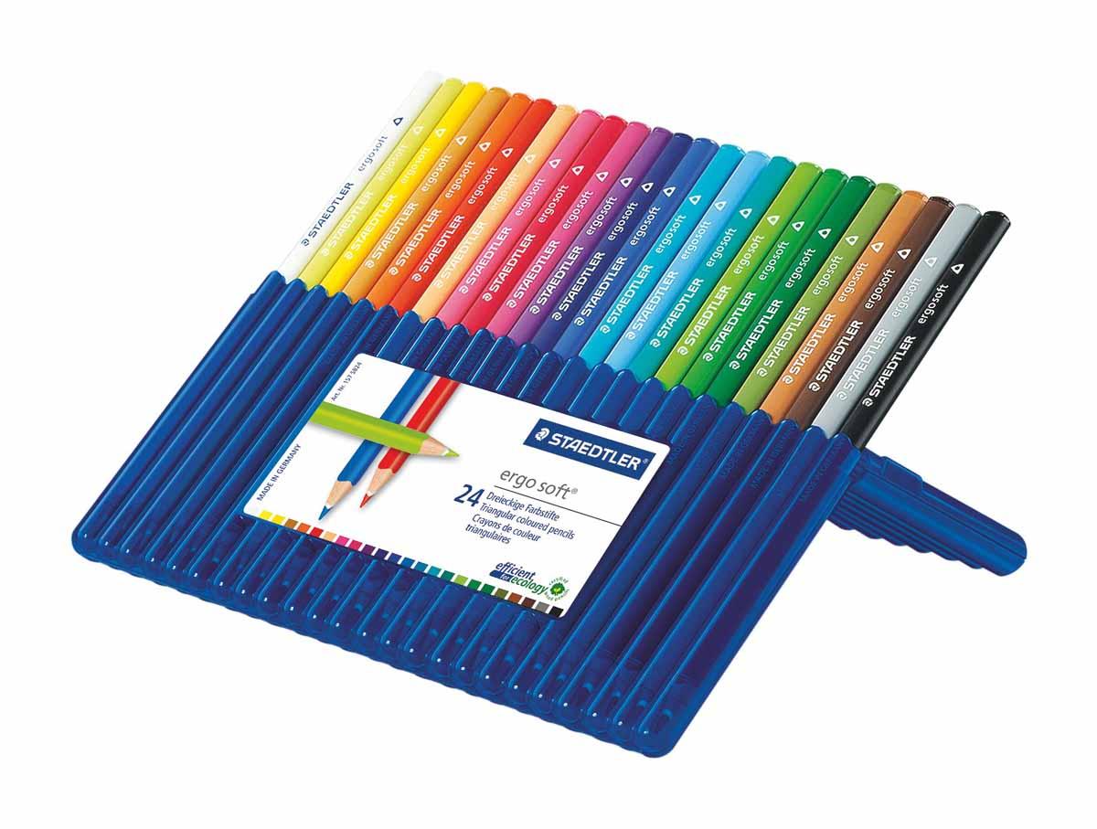 Staedtler Набор цветных карандашей Ergosoft 157 24 цвета157SB2410Набор цветных карандашей трехгранной формы для удобного и легкого письма, Staedtler. Содержит 24 цвета в ассортименте. Карандаши упакованы в пластиковый футляр, который легко превращается в удобную настольную подставку. Широкий выбор возможностей для рисования.