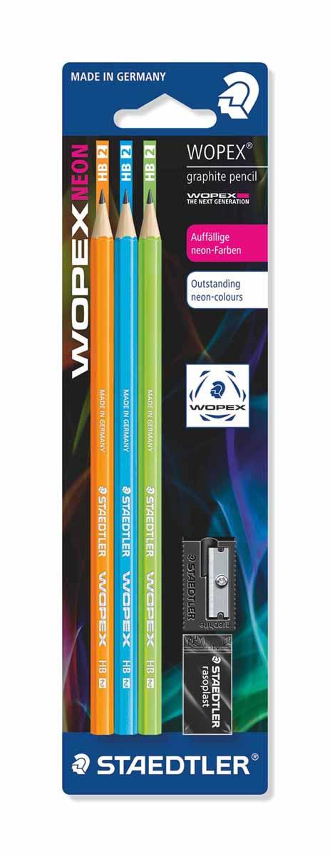 Staedtler Набор чернографитовых карандашей Wopex NEON HB 3 шт 180FSBK3-2180FSBK3-2Набор высококачественных чернографитовых карандашей Staedtler Neon изготовленных из уникального материала Wopex, который на 70% состоит из древесины. Отличаются особой прочностью, устойчивы к поломкам и имеют ударопрочный грифель. Шестигранный корпус мягкий и бархатистый на ощупь, карандаш не скользит в руке.