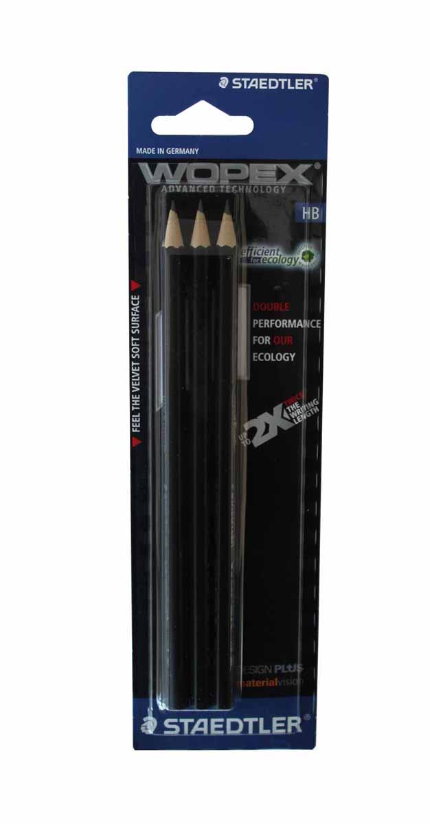 Staedtler Набор чернографитовых карандашей WOPEX HB с ластиком 3 шт цвет корпуса черный180HB-9BK3Набор высококачественных чернографитовых карандашей WOPEX шестигранной формы, Staedtler. Содержит 3 шт. карандашей, цвет корпуса черный, НВ.