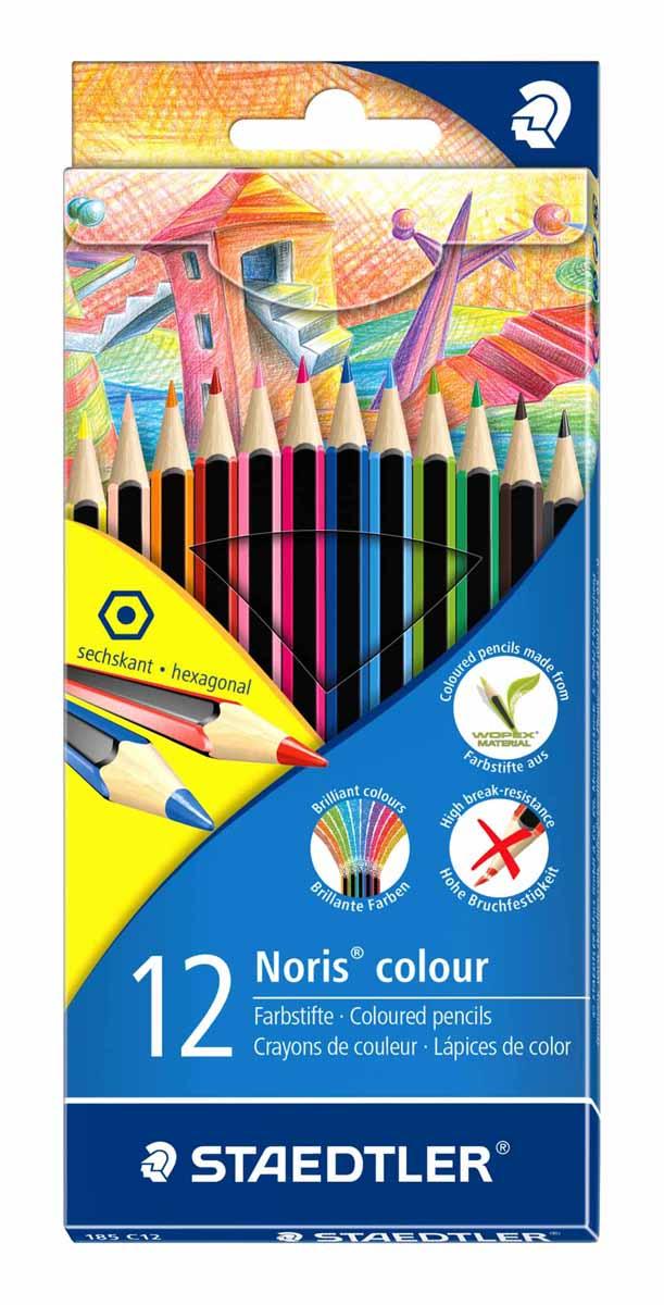 Staedtler Набор цветных карандашей Noris Colour Wopex 12 цветов185C12Новые цветные карандаши Noris Color 185 из инновационного материала Wopex. Сделаны из нового природного волокнистого материала: 70% древесины+пластиковый композит. Высокое качество письма, рисования, эскизов. Нескользящая, бархатистая поверхность; особенно ударопрочный корпус и грифель; гладкое письмо. Инновационный, однородный материал Wopex обеспечивает исключительно гладкую и ровную заточку с любым качеством точилки. Текст и рисунки легко стереть. Упаковка - 12 цветов.