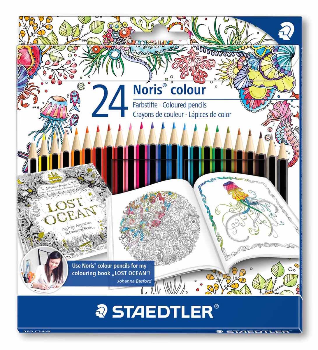 Staedtler Набор цветных карандашей Noris Colour Johanna Basford 24 цвета 185C24JB