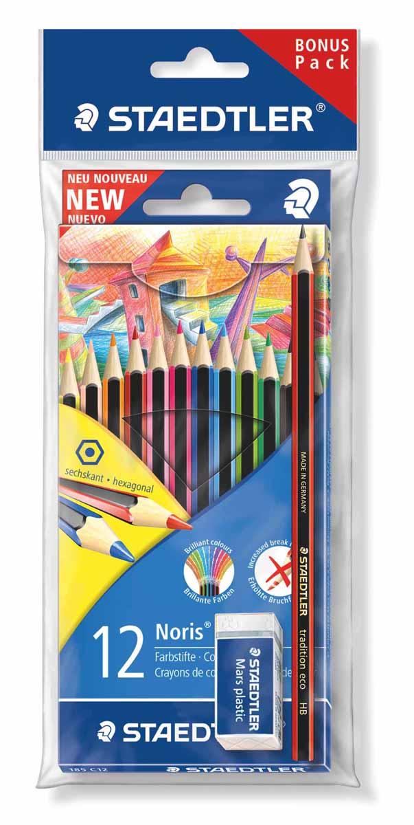 Staedtler Набор цветных карандашей WOPEX 12 цветов с чернографитным карандашом 180T-HB и ластиком185SET2Новый промонабор Noris colour для рисования от Staedtler в спец. экономичной упаковке c подвесом. Включает 3 предмета по цене 1: 1 уп . - цветные карандаши 185 C12; 1 шт. - чернограф. карандаш 180T-HB; 1шт. - ластик 526 53.