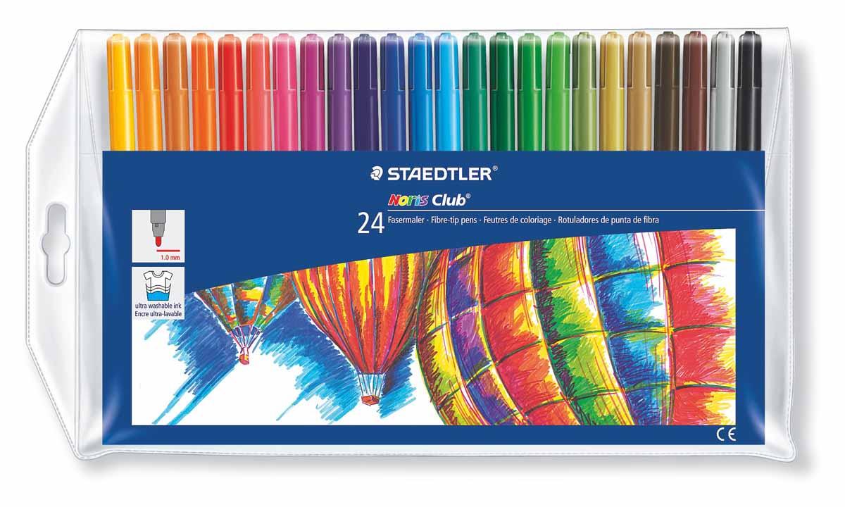 Staedtler Набор фломастеров Noris Club 24 цвета325WP24Набор фломастеров NorisClub, Staedtler. Содержит 24 цвета в ассортименте. Толщина линии прибл. 1,0 мм. Широкий выбор возможностей для рисования.
