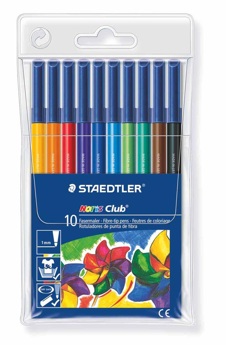 Staedtler Набор фломастеров Noris Club 10 цветов326WP1007Набор Staedtler Noris Club предназначен для маленьких и любознательных малышей. Он включает в себя 10 уникальных разноцветных фломастеров. Грифель каждого изделия снабжен устойчивым к сильному нажатию пишущим узлом. Рисование развивает усидчивость, фантазию, образное восприятие и логическое мышление. Кроме того, у ребенка тренируется зрительная координация и мелкая моторика рук. Толщина линии 1 мм.