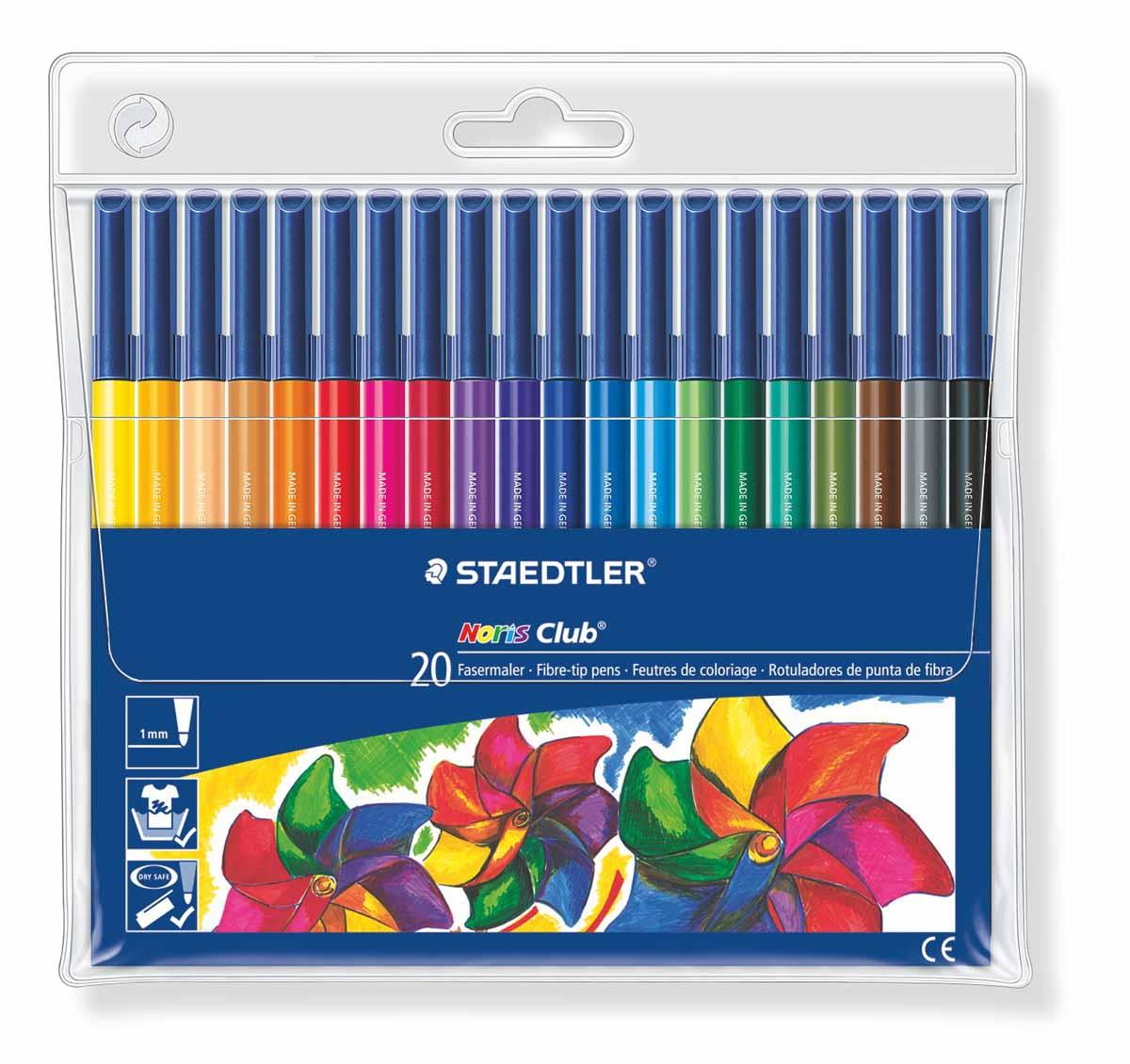 Staedtler Набор фломастеров Noris Club 20 цветов326WP2007Набор фломастеров NorisClub, Staedtler. Содержит 20 цветов в ассортименте. Толщина линии прибл. 1,0 мм. Широкий выбор возможностей для рисования.