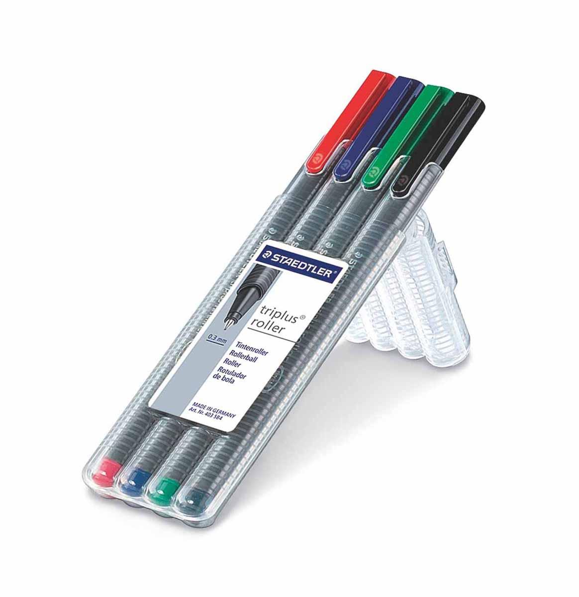 Staedtler Набор ручек-роллеров Triplus 4 цвета403SB4Набор ручек роллеров Staedtler Triplus подходит как для письма, так и для выполнения части графических работ. Особая конструкция пишущего узла обеспечивает сверхмягкое письмо. Ручки защищены от высыхания, могут находитьсСодержит 4 цвета в ассортименте. Толщина лбез колпачка несколько дней. Толщина линии 0,4мм.