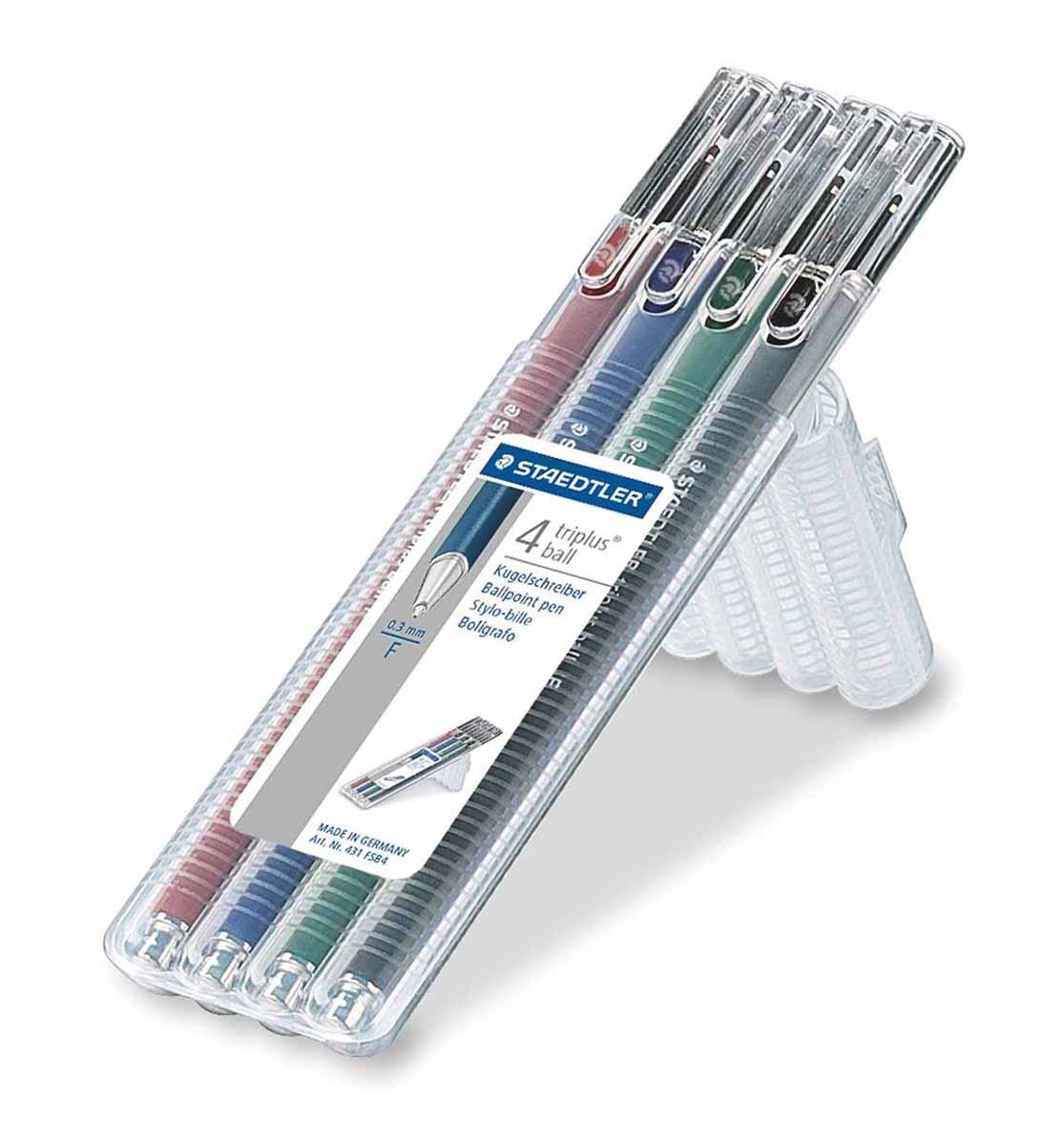 Staedtler Набор шариковых ручек Triplus Ball 4 цвета431FSB4Набор шариковых трехгранных ручек Staedtler Triplus Ball идеально подходит как для письма и работы с документами, так и для творчества. Цвет чернил соответствует цвету колпачка. Толщина линии 0,3 мм. В наборе 4 разноцветные ручки.