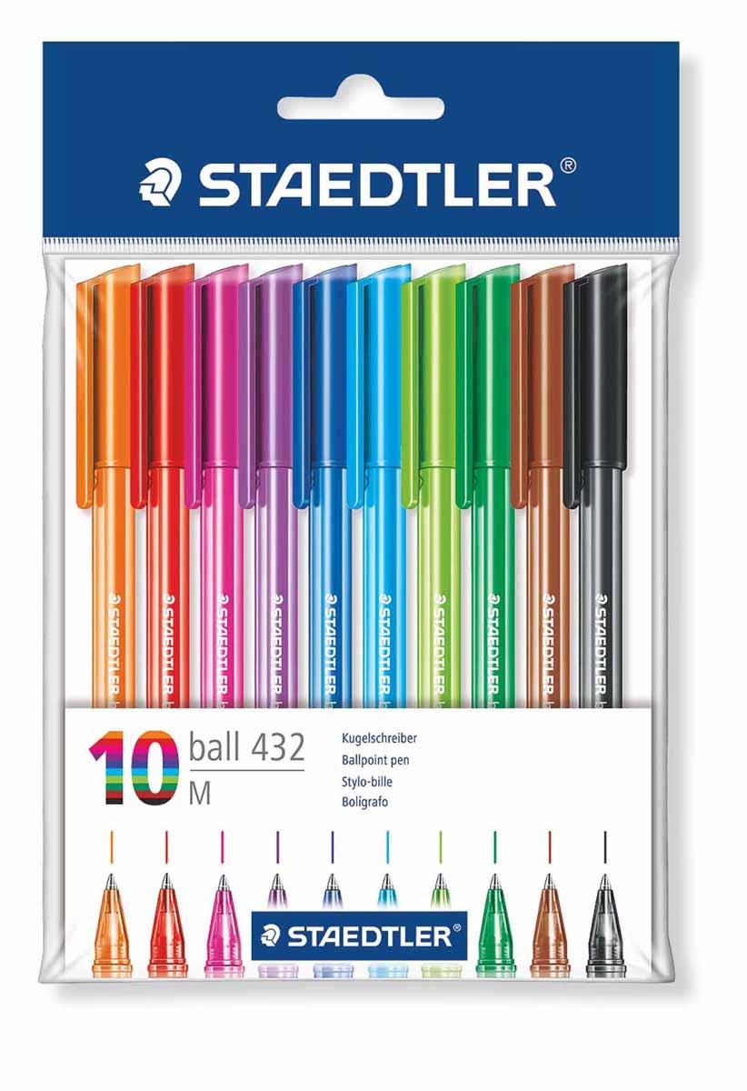 Staedtler Набор шариковых ручек 10 цветов43235MPB10Набор шариковых ручек Staedtler со сменным стержнем отлично подходит для письма и работы с документами. Ручки имеют удобную трехгранную форму и тонкий металлический наконечник. В ручках предусмотрена функция автоматического выравнивания давления, благодаря которой предотвращается утечка чернил во время воздушных перелетов. Оставляют линию толщиной 0.5 мм. Быстросохнущие чернила устойчивы к стиранию, химическим реагентам и влажной среде. В наборе 10 разноцветных ручек.