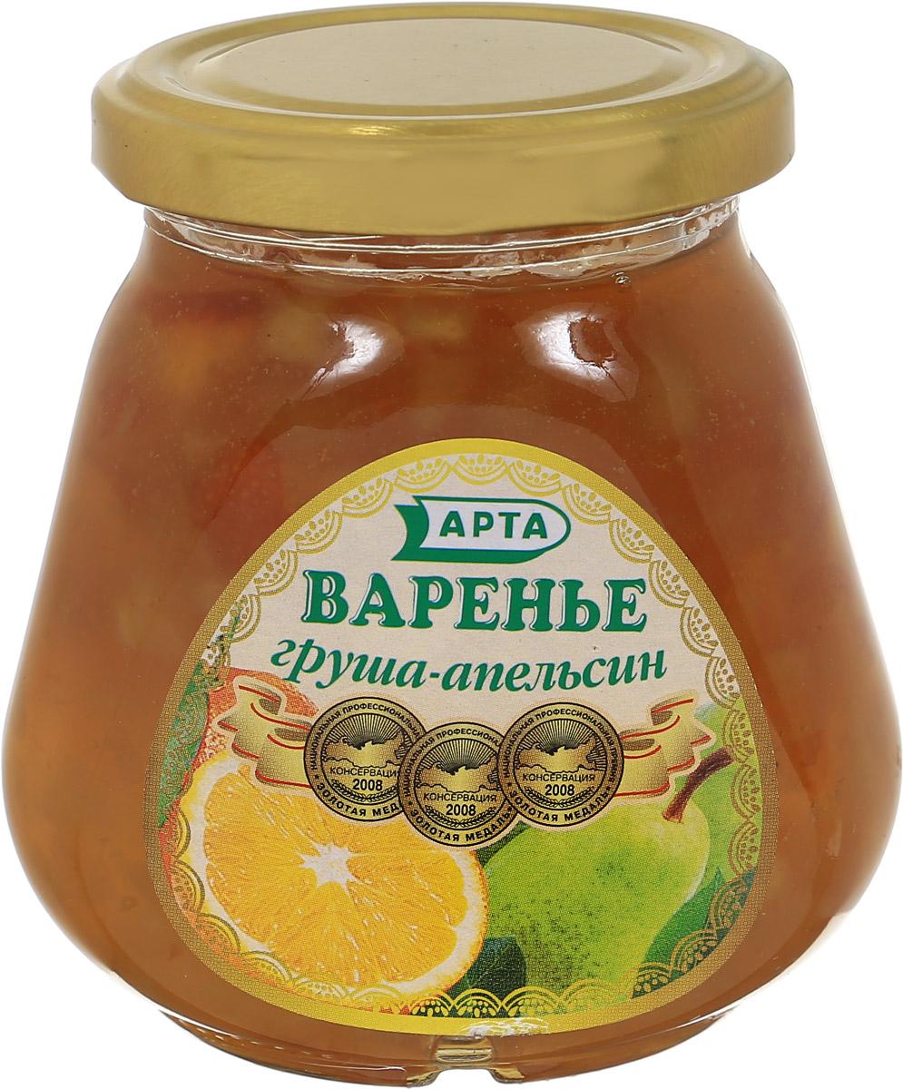 Арта варенье из груши и апельсина, 340 г0115.Варенье - это самый распространенный вид заготовки ягод, фруктов и овощей, который получают путем уваривания в сахарном сиропе. Хорошее варенье - это не разваренные плоды, а сироп легко отделяется. Груша очень полезна для сердца и при нарушениях сердечного ритма. Неоценима польза этого плода и для системы пищеварения. Спелые сочные и сладкие груши способствуют перевариванию пищи, обладают закрепляющими свойствами и поэтому полезны при расстройствах кишечника. Главное достоинство апельсина, как и всех цитрусовых - это витамин С. Апельсины полезны для организма в целом и для пищеварительной, эндокринной, сердечно-сосудистой и нервной систем. Апельсин благотворно влияет на заживление ран и нарывов. Действует успокаивающе, укрепляет нервы, благотворно влияет на деятельность центральной нервной системы. Уважаемые клиенты! Обращаем ваше внимание, что полный перечень состава продукта представлен на дополнительном изображении.