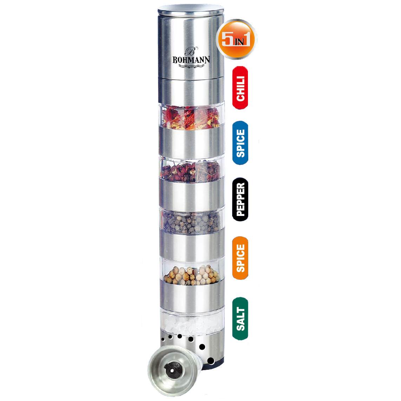 Набор для специй Bohmann, 5 предметов. 7835BH7835BHНабор для специй 5 в 1. Уровней - 5 и 1 мельница. Высота - 25,4см, Диаметр - 5,2см. Регулируемый керамический перемалывающий механизм. Соль и перец не включены.