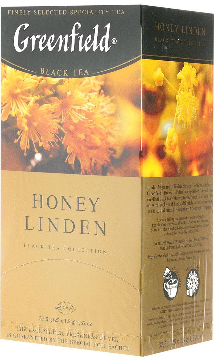 Greenfield Honey Linden черный чай с липой и медом в пакетиках, 25 шт1119-10Greenfield Honey Linden - превосходный купаж черного чая и липы с добавлением тонкой сладости гречишного меда. Нежное благоухание цветов липы наполняет душистой сладостью изысканную композицию, созданную на основе превосходного черного чая. Тончайшая горьковато-пряная нота гречишного меда деликатно подчеркивает терпкие оттенки чайного вкуса, придавая завершенность великолепному букету.