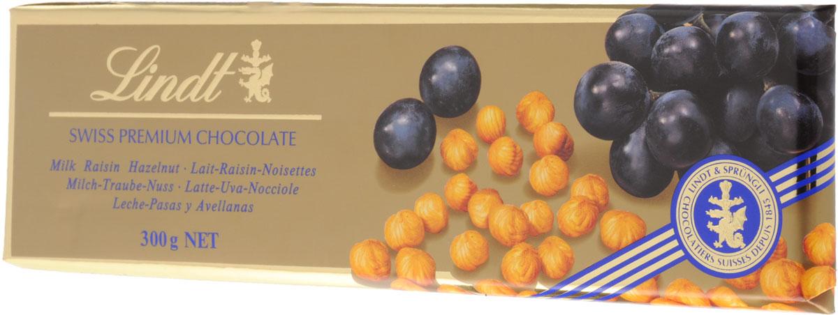 Lindt Gold молочный шоколад с изюмом и цельным фундуком, 300 г 7610400013802
