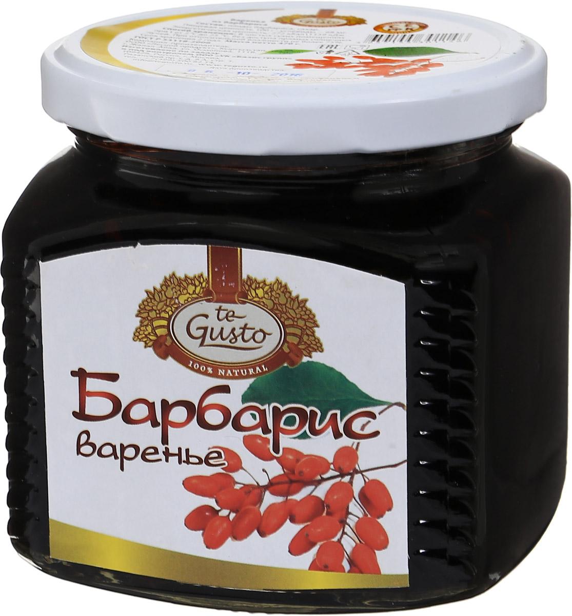 te Gusto Варенье из барбариса, 470 г4657155301146Барбарис - уникальное растение, которое славится не только своим ароматом, но и полезными свойствами. Ягоды барбариса - это кладезь витамина С, аскорбиновой, яблочной и лимонной кислоты. Поэтому употребление продуктов на основе барбариса поможет при снятии жара и для остановки кровотечения. Если у вас наблюдается заболевание печени, мочевого пузыря, почек, то ни в коем случае не пренебрегайте столь важной для вас ягодой.