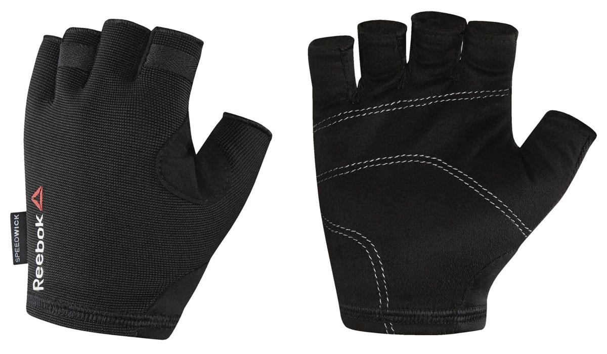 Перчатки для фитнеса Reebok Os U Training Glove, цвет: черный. BK6288. Размер L (22)BK6288Защити свои руки во время самой интенсивной тренировки. Подкладка с внутренней стороны ладони защитит от натирания и обеспечит уверенный хват. А благодаря системе быстрой вентиляции ты будешь ощущать сухость, независимо от нагрузки. Перчатки очень легко снимаются - на кончиках пальцах есть специальные петельки. Материал: 88% нейлон и 12% эластан, сетчатый материал для вентиляции и комфорта. Специальные ярлычки для удобного снимания. Силиконовые вставки на ладонях для амортизации и защиты. Сетчатые вставки для вентиляции и отвода влаги. Вставка из микрофибровой замши для комфорта и удаления влаги.