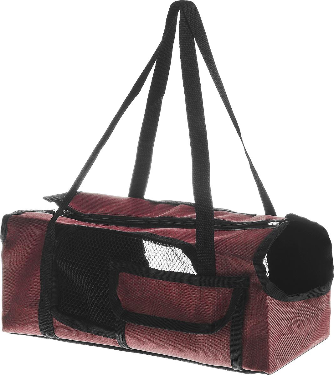 Сумка-переноска для животных Elite Valley Батискаф, с отверстием для головы, цвет: бордовый, черный, 37 х 14 х 16 смС-57_бордовыйТекстильная сумка Elite Valley Батискаф предназначена для собак мелких пород и кошек. Изделие закрывается на застежку- молнию. Для удобной переноски предусмотрены ручки. С внешней стороны имеется один небольшой карман. Также сумка оснащена отверстиями для головы и хвоста животного. По бокам расположены вставки из сетчатой ткани. Дно уплотнено твердой съемной вставкой. Сумка-переноска Elite Valley Батискаф обязательно понравится вашему домашнему любимцу.