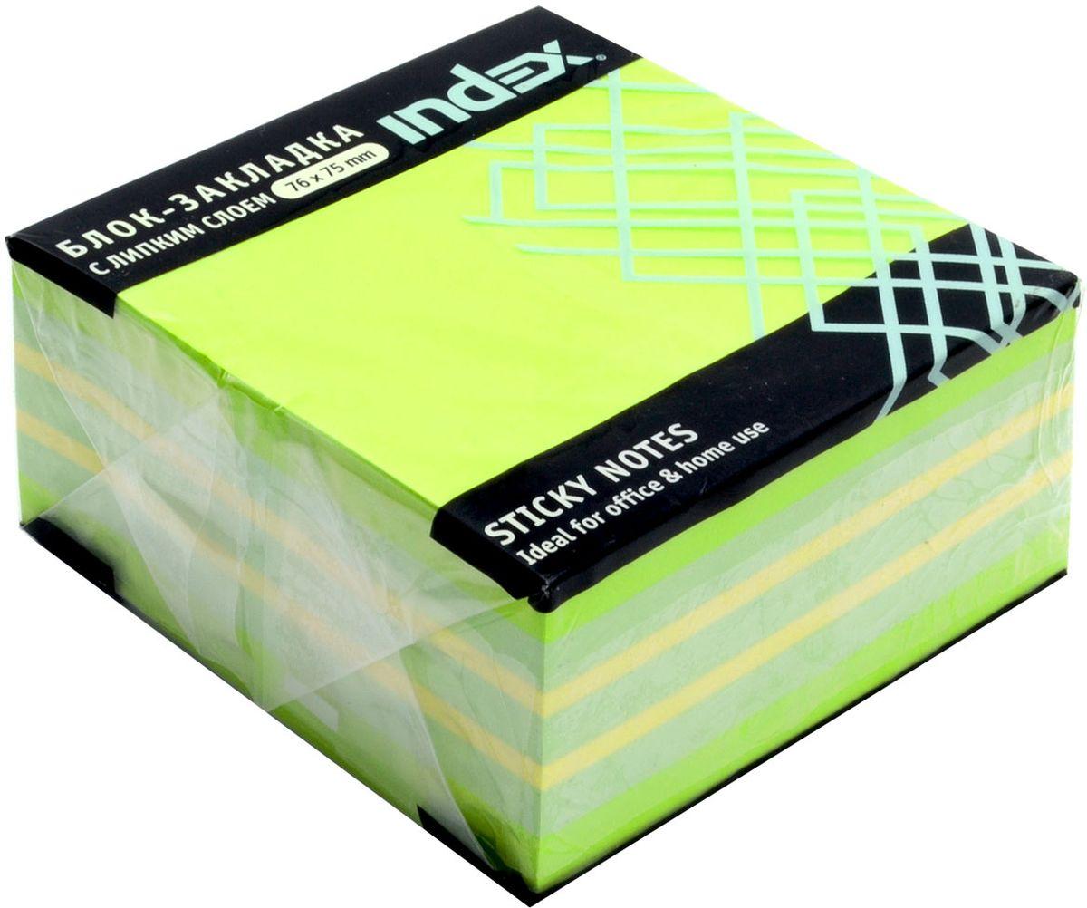 Index Бумага для заметок с липким слоем цвет зеленый 400 листовI433813Бумага для заметок с липким слоем, размер 76 х 75 мм, 400 листов. Клеевой слой - 21 Н/м, плотность бумаги - 75г/кв.м. Не оставляет следов после использования, лист может крепиться повторно.