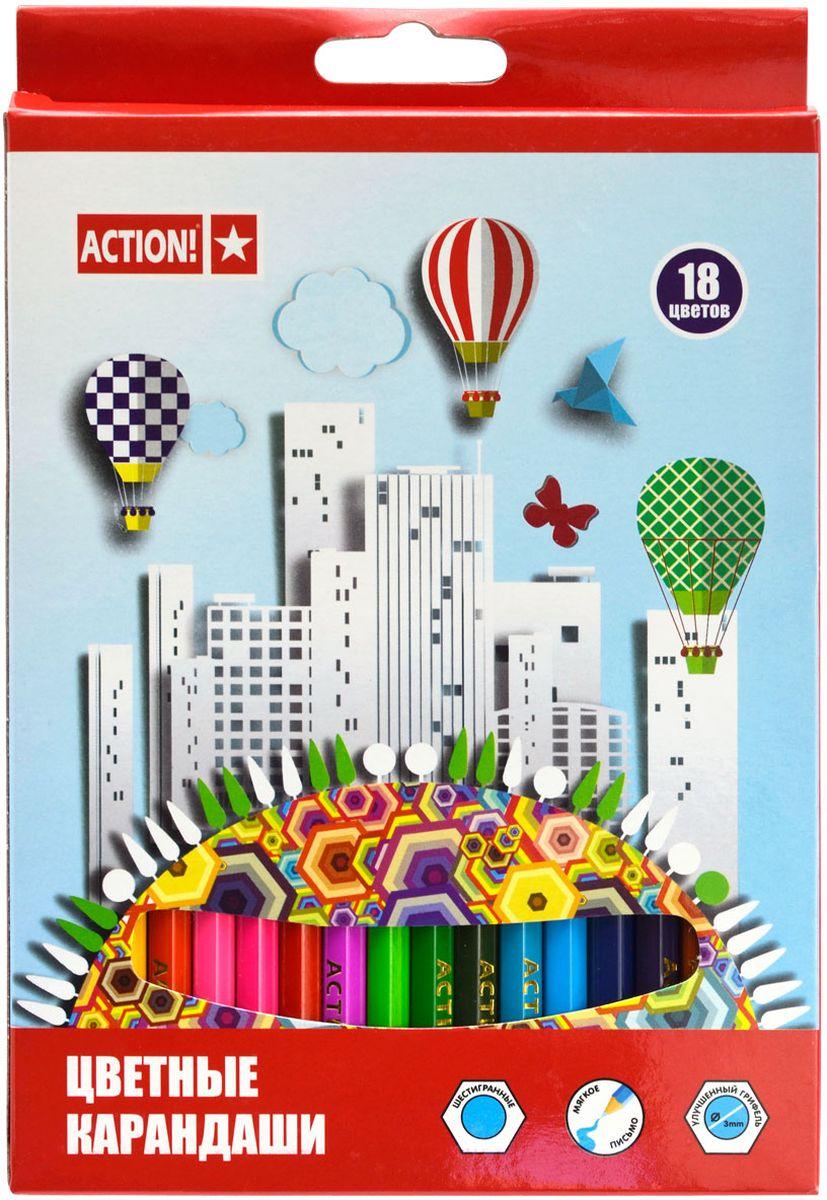 Action! Набор цветных карандашей 18 цветовACP360-18Шестигранный корпус. Улучшенный грифель. 18 цветов. В картонной коробке с европодвесом.