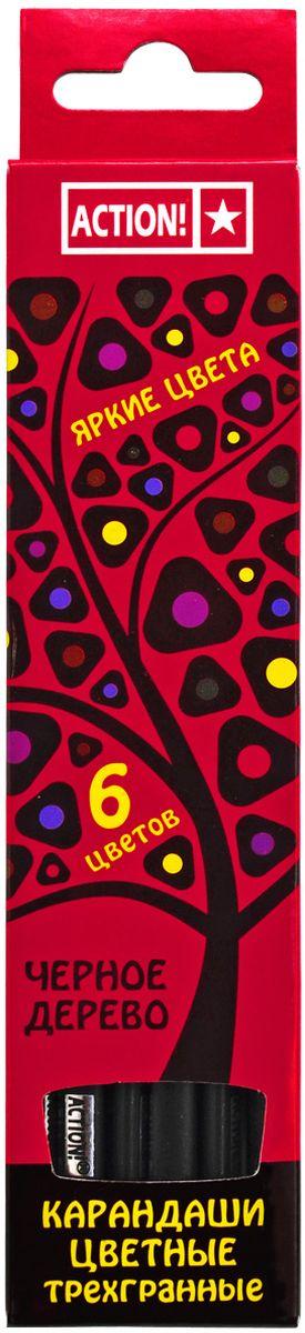 Action! Набор цветных карандашей Черное дерево 6 цветовACP505-6Трехгранный корпус. Выполнены из черного дерева. 6 цветов. В картонной коробке с европодвесом.