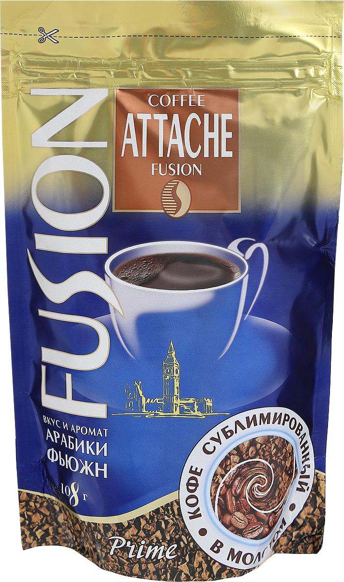 Attache Fusion Prime кофе растворимый, 108 г4600946000872Растворимый кофе Attache Fusion Prime - это уникальное слияние двух видов кофе - растворимого кофе и молотого. Уникальная технология напыления свежей натуральной Арабики тонкого помола на кристаллы растворимого кофе. В одном продукте скорость и удобство заваривания растворимого и живой аромат натурального кофе.