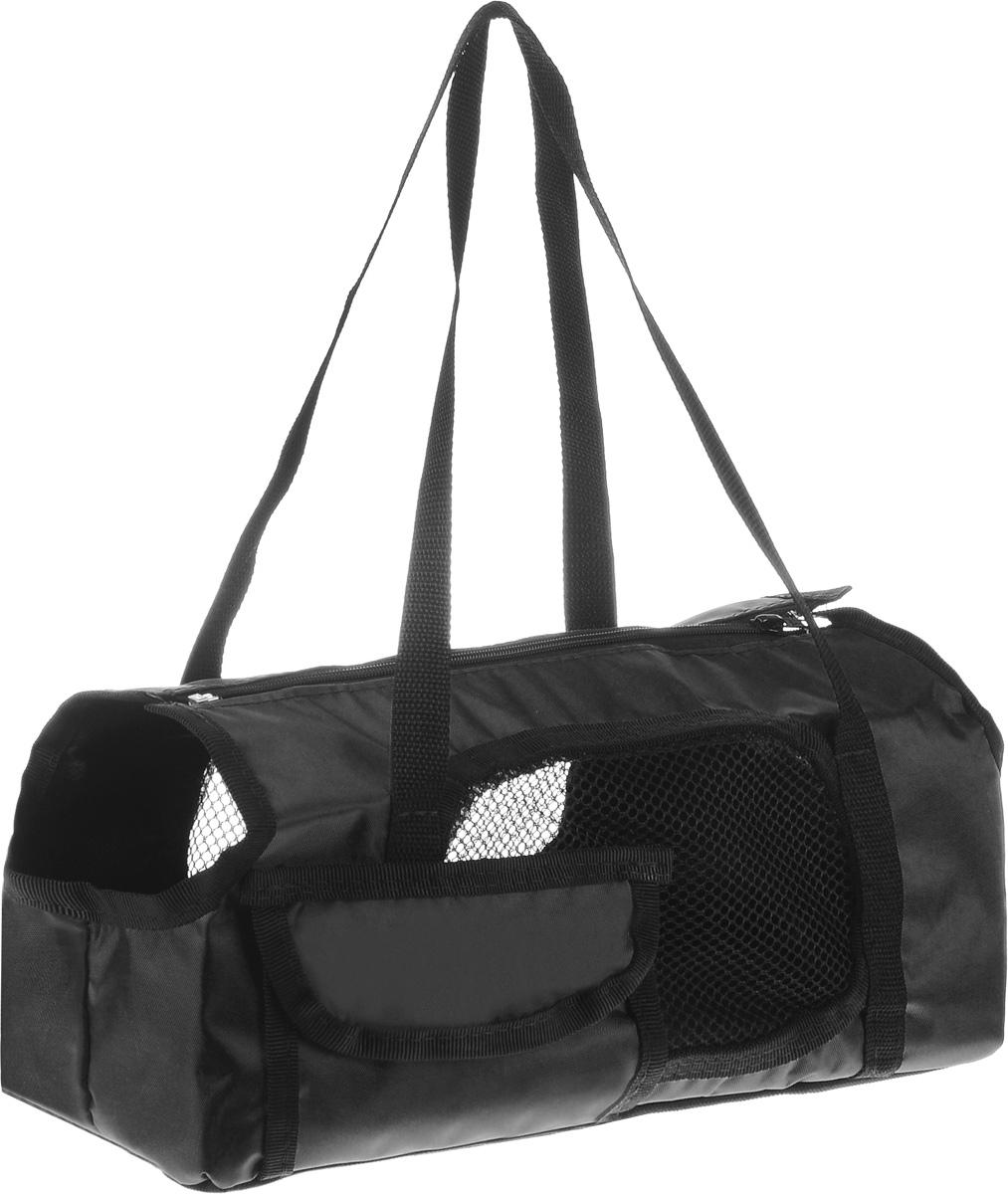 Сумка-переноска для животных Elite Valley Батискаф, с отверстием для головы, цвет: черный, 37 х 14 х 16 смС-57_черныйТекстильная сумка Elite Valley Батискаф предназначена для собак мелких пород и кошек. Изделие закрывается на застежку- молнию. Для удобной переноски предусмотрены ручки. С внешней стороны имеется один небольшой карман. Также сумка оснащена отверстиями для головы и хвоста животного. По бокам расположены вставки из сетчатой ткани. Дно уплотнено твердой съемной вставкой. Сумка-переноска Elite Valley Батискаф обязательно понравится вашему домашнему любимцу.