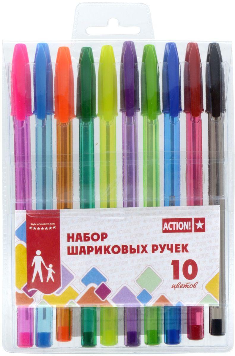Action! Набор шариковых ручек 10 цветов ABP1001ABP1001Пластиковый цветной полупрозрачный корпус в цвет чернил. Диаметр шарика – 0,5 мм. 10 цветов. В ПВХ-пенале с европодвесом