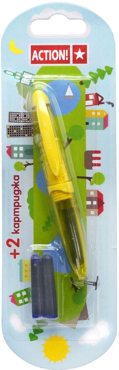 Action! Ручка перьевая цвет синий AFP1037AFP1037Пластиковый корпус, резиновый упор под пальцы. Синие чернила. 2 картриджа в комплекте