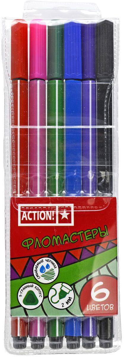 Action! Набор фломастеров 6 цветов