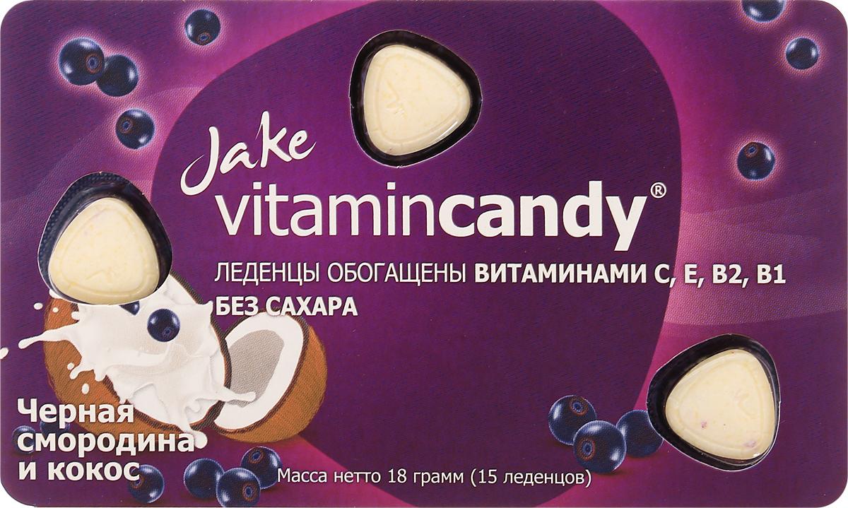 Jake Vitamin C, E, B2, B1 леденцы со вкусом черной смородины и кокоса, 18 г