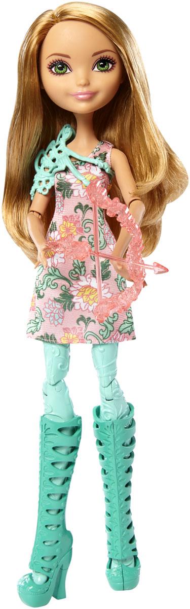 Ever After High Кукла Лучница Эшлин ЭллаDVH82_DVH79Придумывайте невероятные сюжеты с куклой Ever After High Эшлин Элла, которая решила научиться стрельбе из лука! Эшлин Элла держит в руках очаровательный лук со стрелой. Кукла одета в платье с цветочным узором и лосины ее любимого цвета. Потрясающие туфли и стильный защитный жилет дополняют наряд. У куклы густые длинные волосы и симпатичное личико, а также подвижные руки и ноги - Эшлин может принимать различные позы, благодаря чему игра с ней станет еще более интересной и увлекательной.