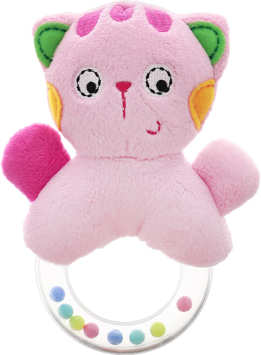 Жирафики Мягкая погремушка Кошка93635Мягкая погремушка Жирафики Кошка не оставит вашего малыша равнодушным и не позволит ему скучать. Игрушка выполнена в виде милой розовой кошечки. Глазки, ротик и носик кошки вышиты нитками. К кошке крепится прозрачное кольцо, внутри которого находятся маленькие разноцветные шарики, гремящие при тряске. Малыш с интересом будет следить за разноцветными шариками внутри колечка. Погремушка - очень древняя игрушка! Наши предки считали, что погремушка помогает отогнать злых духов от детской колыбели, а сегодня специалисты утверждают, что игрушка развивает слуховое, пространственное и зрительное восприятие, а также тактильные ощущения, учит находить источник звука, сосредотачиваться и следить за движением.