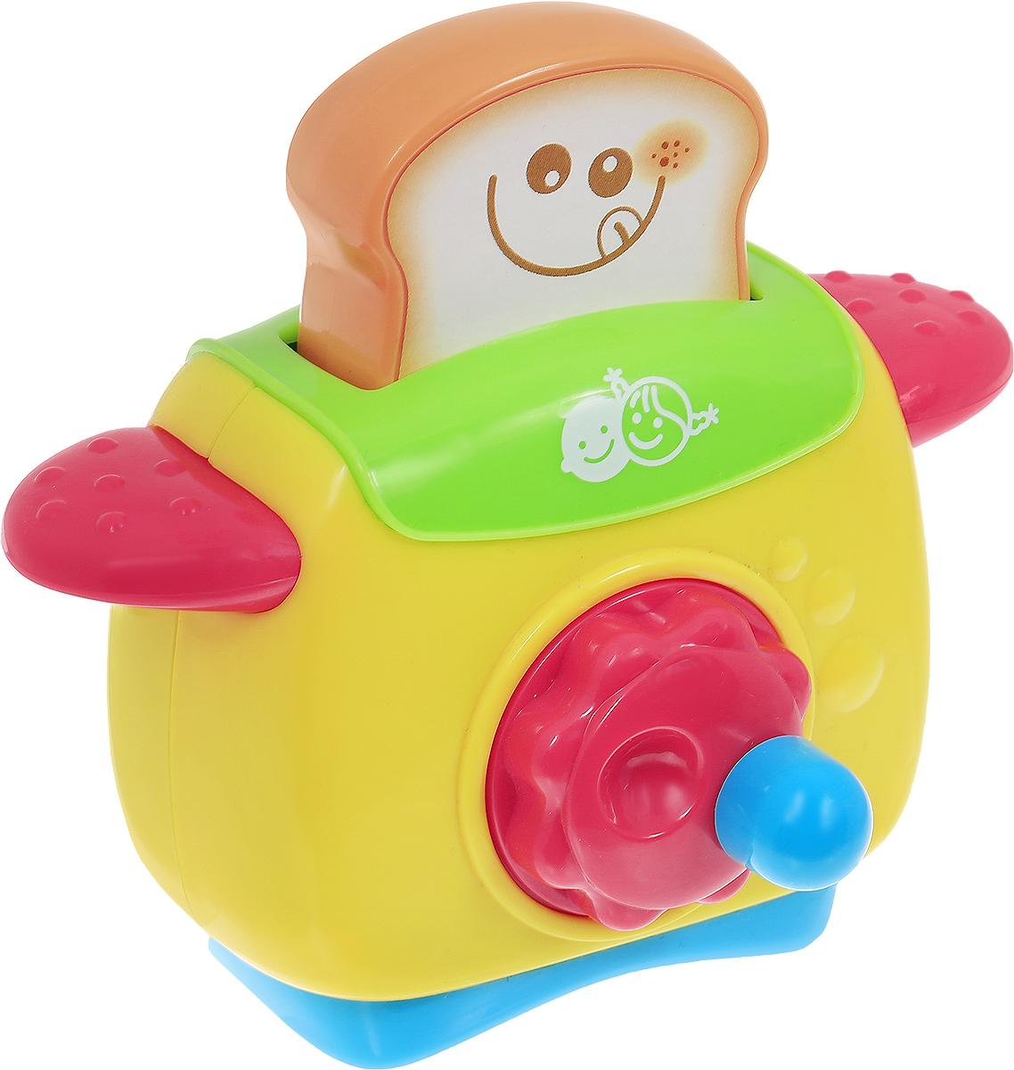 Playgo Развивающая игрушка Мой первый тостерPlay 2604Игрушка Playgo Мой первый тостер привлечет внимание вашего маленького кулинара и не позволит ему скучать. Игрушечный тостер очень похож на настоящий кухонный прибор! Сверху имеется кусочек хлеба, который опускается внутрь. Если покрутить за рычаг, то заиграет приятная негромкая мелодия. Сзади игрушки имеется окошко с передвижной панелью. Игрушечная бытовая техника не только развлекает ребенка, но и знакомит его с правилами использования электроприборов. Порадуйте своего малыша таким замечательным подарком!