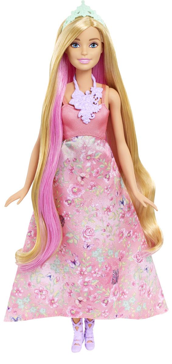 Barbie Кукла Принцесса с волшебными волосами цвет платья светло-коралловыйDWH41_DWH42Принцесса Barbie - это тройное веселье в одной кукле. Волосы этой куклы меняют цвет! У куклы длинные локоны и длинное платье с цветочным принтом на пышной юбке. У куклы три возможных цвета волос. Поверните макушку куклы, чтобы волосы стали ярко-розовыми. Смочите отдельные прядки холодной водой с помощью губки, чтобы получить фиолетовый оттенок. В комплект к кукле входят туфли, тиара и удивительное ожерелье.
