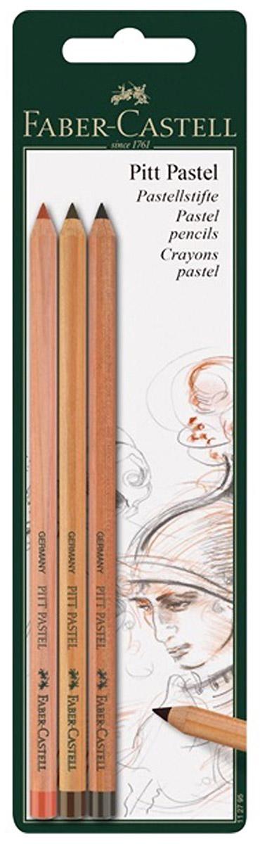 Faber-Castell Набор пастельных карандашей Pitt Pastel 3 шт112797Набор пастельных карандашей Faber-Castell Pitt Pastel для портретов, скетчей, натюрмортов, пейзажных рисунков или для учебы. Карандаши равномерно ложатся на бумагу, оставляя след как от обычной пастели, но при этом расходуются экономично. Цвета обладают насыщенным пигментом и не изменяются при фиксации или под действием света. Карандаши не содержат масла. Благодаря деревянному корпусу ваши руки остаются чистыми. Они легко растираются и хорошо подходят для ретуши, но это также означает, что для сохранения работы потребуется их фиксация специальными средствами. В наборе три карандаша.