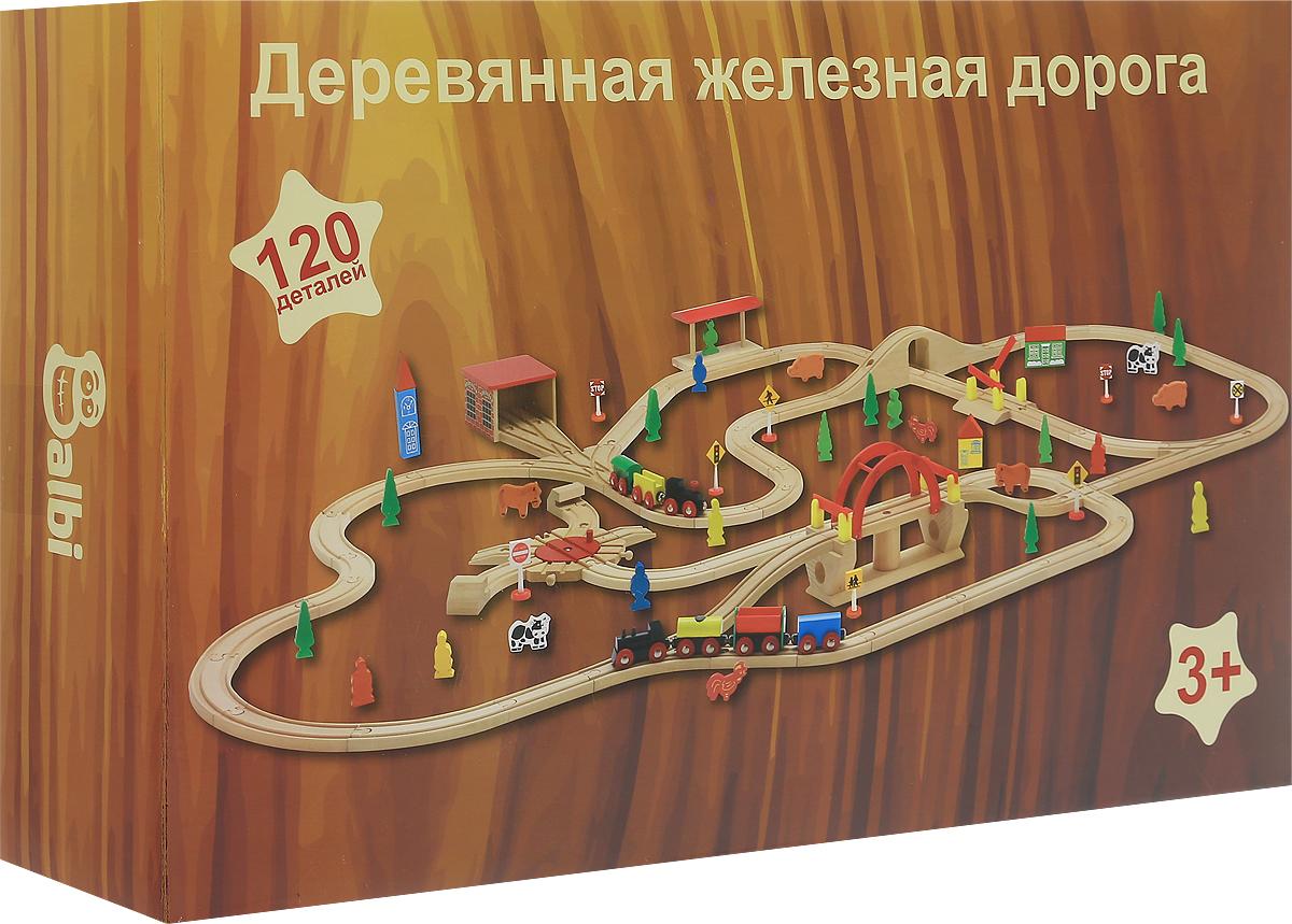 Balbi Деревянная железная дорога 120 деталейWT-041Игровой набор Balbi Деревянная железная дорога непременно понравится вашему ребенку. Набор, состоящий из 120 деталей, изготовлен из натурального дерева твердых пород без химической обработки. Качественная обработка всех деталей набора и окраска натуральными красками обеспечивает безопасность для детей. Набор представляет собой железную дорогу со стрелками, мостами, депо и станцией. Вагоны паровозика легко соединяются с помощью магнита и без труда входят в любой поворот. А дополнительные детали, такие как фигурки, деревья и знаки, помогут ребенку создать целый маленький мир. Порадуйте своего малыша таким замечательным подарком!