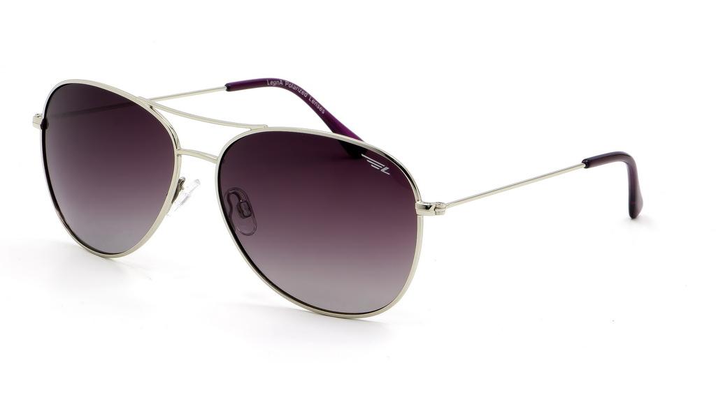 Очки поляризационные женские Legna, цвет: серый, сиреневый. S4601BS4601BСолнцезащитные очки Legna с поляризационными линзами превосходно предохраняют глаза от любого рода вредных бликов и УФ-лучей, что делает вождение безопасным и комфортным. Также очки Legna ничем не уступают самым известным маркам и брендам в эстетической части. Благодаря линзам премиум класса очки Legna прекрасно подходят для повседневной носки, занятий спортом, отдыха и конечно для использования за рулем.