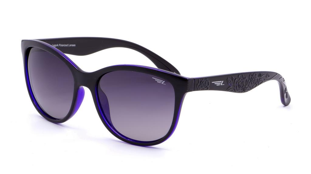 Очки женские поляризационные Legna, цвет: фиолетовый, серый. S8601AS8601AСолнцезащитные очки LEGNA с поляризационными линзами превосходно предохраняют глаза от любого рода вредных бликов и УФ-лучей, что делает вождение безопасным и комфортным. Также очки LEGNA ничем не уступают самым известным маркам и брендам в эстетической части. Благодаря линзам премиум класса очки LEGNA прекрасно подходят для повседневной носки, занятий спортом, отдыха и конечно для использования за рулем.