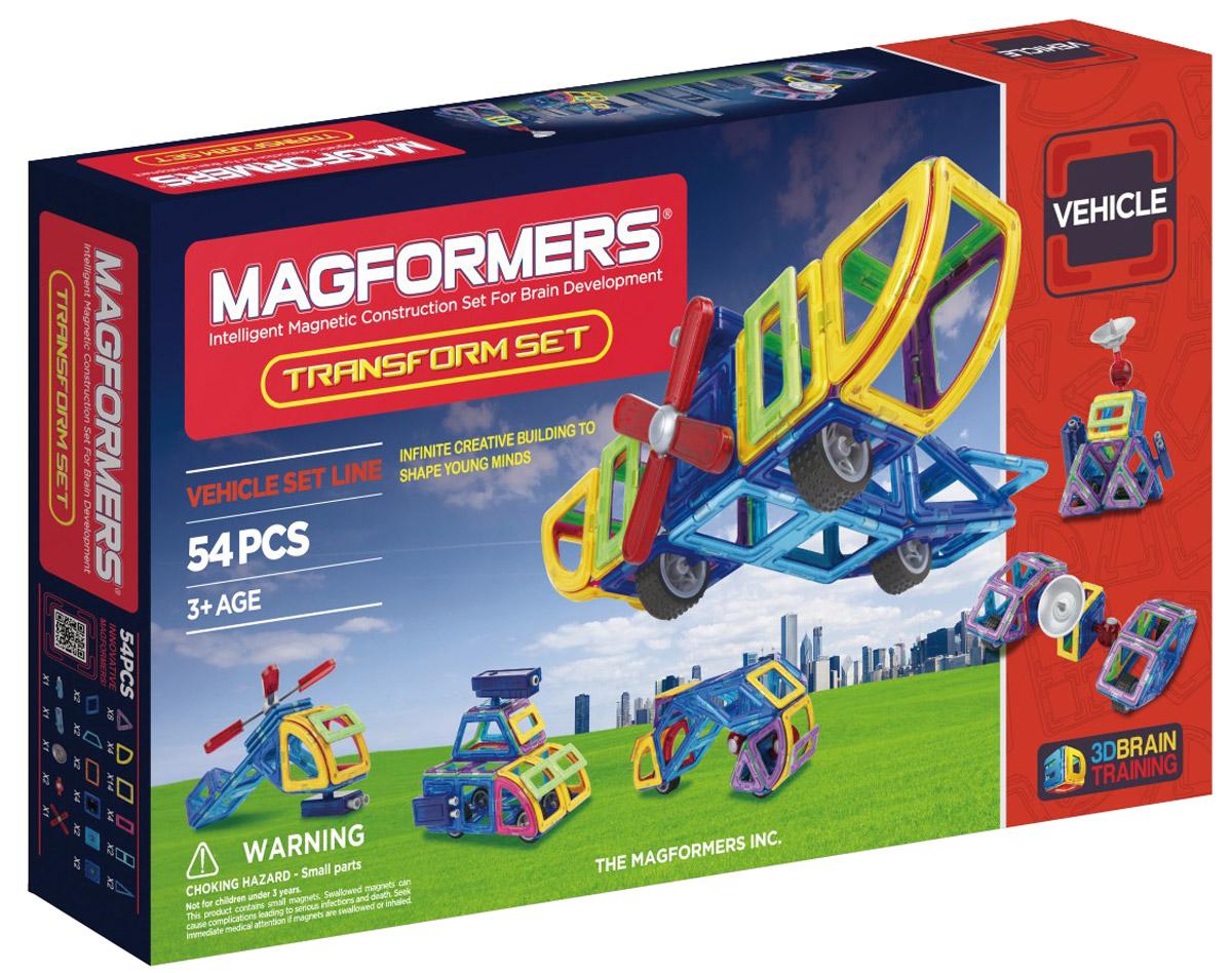 Magformers Магнитный конструктор Transform Set63089Magformers Transform Set прекрасно подходит для знакомства ребенка с миром авиации и техники. С ним маленький авиатор будет создавать вертолеты, самолеты, и космические корабли. Набор состоит из 54 деталей: наряду с базовыми элементами это и сектор, и арка, и минипрямоугольник. Среди аксессуаров вы сможете найти пушку для строительства военной техники и пропеллер для авиатехники. Одиночные колеса, которые могут выполнять функции, например, шасси для самолета или же опор для лунохода. Антенна незаменима для космической техники: вездехода, космической станции, ракеты - ведь все это станет гораздо реалистичнее с нею. Специальные вращающиеся блоки и шарниры сделают аксессуары подвижными, что, безусловно, добавит игре динамики и интереса. Набор Magformers Transform Set отличный подарок для любого увлекающегося техникой ребенка!