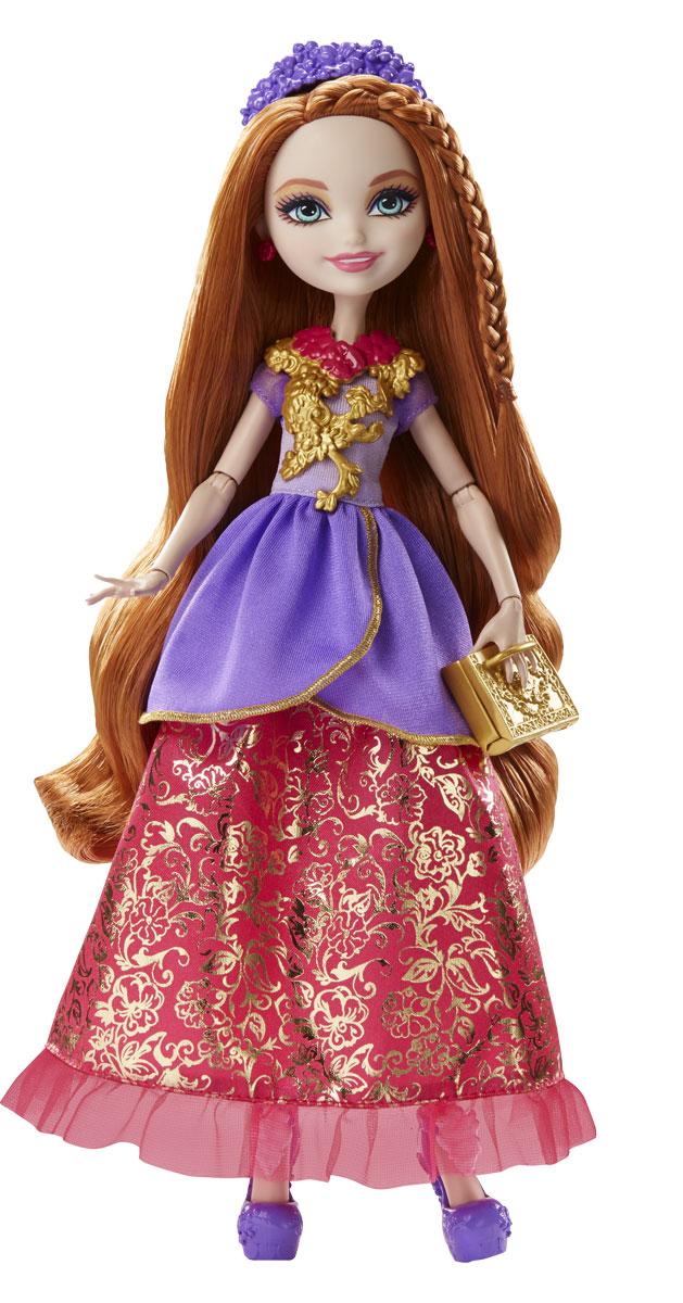 Ever After High Кукла Отважная принцесса Холли ОХараDVJ17_DVJ20Могущественным принцессам Ever After High нужен образ под стать! Бальное платье куклы Холли ОХара с многослойной юбкой и сияющим акцентом легко превращается в повседневный наряд. А детское кольцо, входящее в комплект, поможет превратить сказку в реальность. Образ куклы дополняют нарядные туфли, ободок, сумочка и ожерелье. Отправьтесь с сказку со счастливым концом с куклами Ever After High.