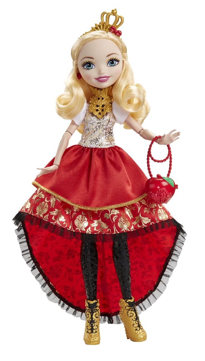 Ever After High Кукла Отважная принцесса Эппл УайтDVJ17_DVJ18Очаровательная кукла Ever After High Эппл Уайт обязательно привлечет внимание вашей маленькой любительницы сказок и волшебства. Дочь Белоснежки - ответственный и рассудительный лидер, со всей серьезностью относящийся к своим обязанностям. Стоит ей лишь взмахнуть ресницами, как мальчики и животные спешат ей на помощь. На куколке надето красивое красное платье с пышной юбкой, украшенное золотистыми узорами. Платье легко превращается в повседневный наряд. Образ дополняют золотистый ободок с короной и оригинальная сумочка в виде яблока. В руках у Эппл Уайт уникальный золотой скипетр. Длинные белокурые волосы куклы очень мягкие и послушные, их приятно расчесывать и создавать различные прически. В комплект также входит кольцо для девочки. У куклы шарнирные руки и ноги, что позволяет придавать ей различные позы. Отправьтесь с сказку со счастливым концом с куклами Ever After High!