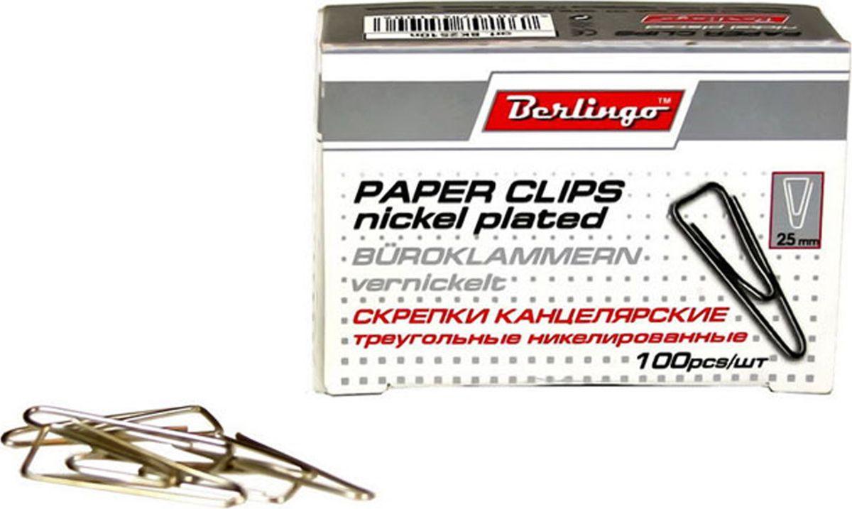 Berlingo Скрепки никелированные треугольные 25 мм 100 шт BK2510nBK2510nНикелированные канцелярские скрепки Berlingo треугольной формы с отогнутым носиком. Не ржавеют, не пачкают бумагу, обеспечивают надежное скрепление. В упаковке 100 штук.