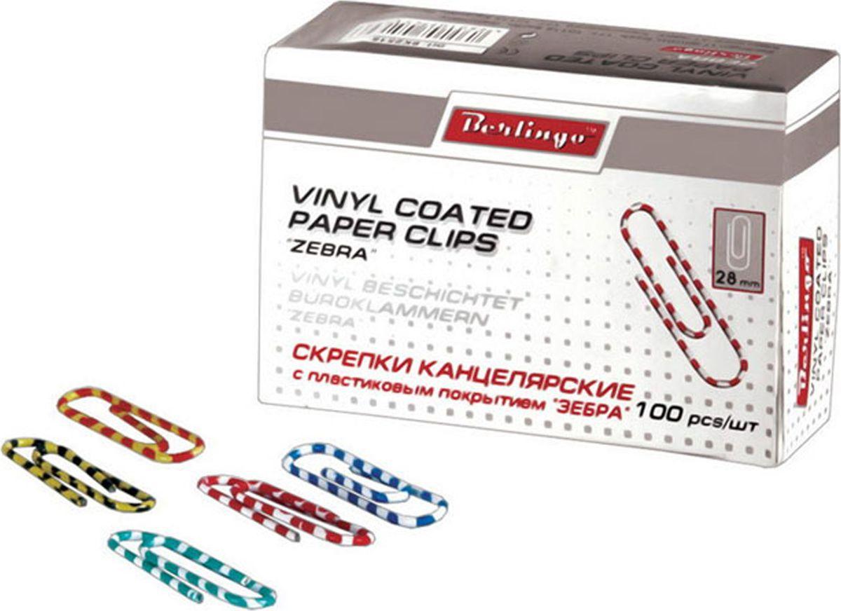 Berlingo Скрепки Зебра 28 мм 100 шт BK2515BK2515Оригинальные металлические канцелярские скрепки Berlingo с цветным виниловым покрытием не ржавеют, не пачкают бумагу, обеспечивают надежное скрепление. В упаковке 100 шт.